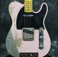 Heavy Relic TL Electric Guitar Aged Hardware Brass Saddles Bridge ASH Body Pink