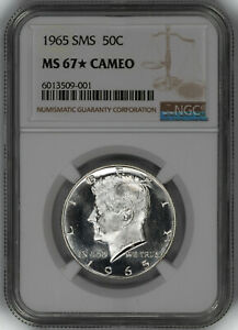 1965 SMS KENNEDY HALF DOLLAR 50C NGC CERTIFIED MS 67* MINT UNC STAR - CAMEO (001