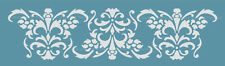 DAMASK BORDER STENCIL for WALL CAKES CURTAINS PATTERN FAUX MURAL DECOR #1025