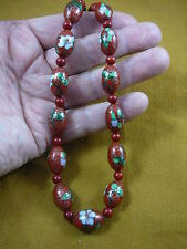 coral Beads Necklace fashion Jewelry (v257-4) Red pink flower Cloisonne beaded