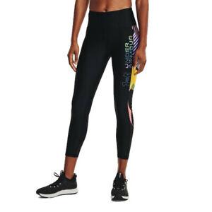 Under Armour Womens UA HeatGear Geo 7/8 Leg Tights Bottoms Pants Trousers Black