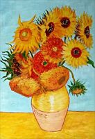 Quality Hand Painted Oil Painting, Repro Van Gogh Twelve Sunflowers 24x36in