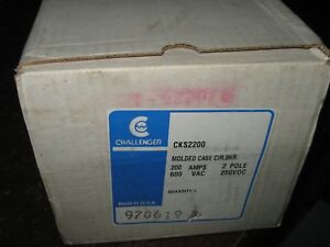 Challenger CKS2200 Molded Case Circuit Breaker, 2 Pole, 200 Amp, 600VAC, New