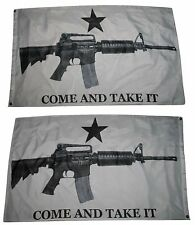 3x5 Come and Take It M4 White 2 Faced 2-ply Wind Resistant Flag 3x5ft