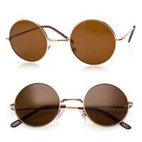 John Lennon Sunglasses Round Hippie Shades Retro Smoked Lenses Gold Frame Brown