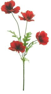 48cm Artificial Flame Red Poppy Flower Stem - Decorative Silk Flowers. Poppies