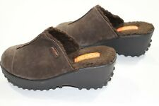 Rocket Dog Fran Suede Mules Faux Shearling Lined Brown Size 8