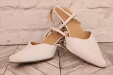 Clarks White Leather Sling Back Ankle Strap Low Stiletto Court Pumps High Heels