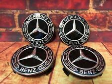 Mercedes-Benz Nabendeckel Satz Radnabendeckel Lorbeerkranz schwarz NEU