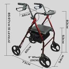 New red Aluminum Foldable Rollator Walking Frame Outdoor Walker Aids Mobility