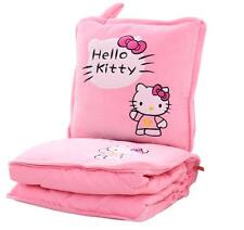 2in1 Hello Kitty Pillow Cushion & Supersoft Plush Bedroom Blanket Throw Cover