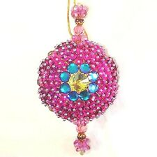 Gorgeous Purple Beaded Jewel Vintage Christmas Ornament