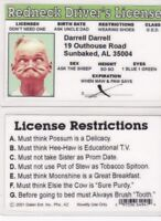 REDNECK MAN Darrell Darrell Outhouse fun novelty fake ID Card Drivers's License