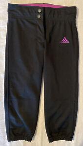 adidas Girls' Softball Pants, Small, Black / Purple