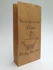 10 X Personalised Baby Shower Kraft Party Bags Goodie Sweet Brown Block Bottom