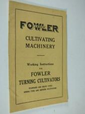 FOWLER TURNING CULTIVATORS- INSTRUCTIONS, 1920s - AGRICULTURE, MACHINERY