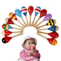 Popular Baby Kids Sound Music Toddler Rattle Musical Wooden Colorful Toys UK  JX