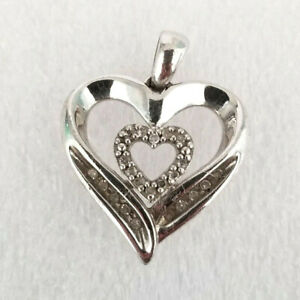 """SUN Sterling Silver Double Heart Pendant Diamond Chip 925 marked 1/2"""" x 3/4"""""""