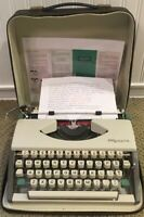 VTG 1966 Olympia SF Deluxe Ultra Portable Typewriter & Black Case W Germany PICA