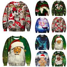Womens Mens Ugly Christmas Sweater Santa Xmas Jumper Sweatshirt Tops 3D Printed