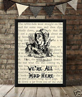 VINTAGE PICTURE PRINT or Greetings Card, Alice in Wonderland, We're All Mad Here