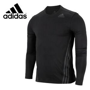 adidas AEROREADY 3-Stripes Cold Weather Long Sleeve Tee Shirts Black FS4270