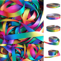 3 Meter Double Sided Rainbow Printed Satin Polyester Ribbon Available in 5 width