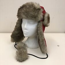 4b9ed14e9f3a60 Ladies Red Brown Faux Fur Canvas Warm Winter Snow Flap Trapper Pom Pom Hat
