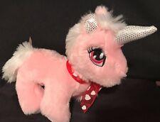 "Dan Dee Pink Unicorn Plush 9"" Stuffed Animal Valentines Love Red Ribbon Hearts"