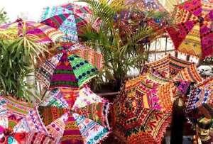 Indian Handmade Attractive Parasol-Home Garden Decor 5-Pc Wholesale Lot Parasols