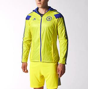 NWT Extremely Rare Chelsea Adidas Anthem Hooded Nylon Glanz Jacket Yellow XL