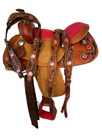 FLORAL 12 13 TRAIL SHOW CHILD KID PONY BARREL RACING WESTERN PINK YOUTH SADDLE