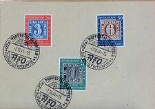 GERMANY (WEST) 1949 STAMP CENTENARY SET SG1035/7 on P.S. CARD SPECIAL HANDSTAMP.