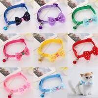 Dog Cat Pet Bowknot Bow Tie Bell Adjustable Puppy Kitten Necktie Collar