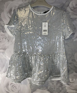 Girls Age 11-12 Years - BNWTS Short Sleeved Top - Sequins