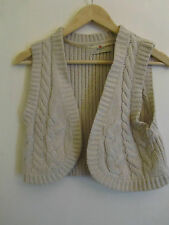 Cropped Beige Knitted Acrylic Sleeveless Cardigan with No Fastening in Size 12