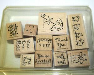 2000 Stampin Up 11 Stamp Set Scrapbooking PaperCrafts Invite Shower Teddy Bear
