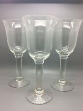 3 x Large Hand Blown Clear Glass Goblets for Wine Water Drinks Parties Dining