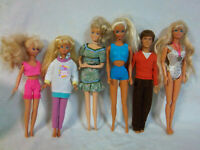 "Mattel Barbie Doll 5 Female 1 Male Clothed 12"" Toy"