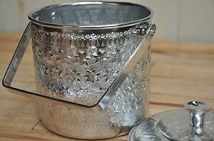 Retro asian silver aluminum pot container with lid holder Thai Laotian print