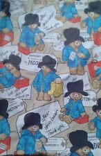 Vintage PADDINGTON BEAR Large Fabric Remnant 65cm x 60cm