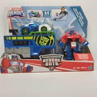 Transformers Rescue Bots Optimus Prime Racing Trailer, Playskool Heroes NIB