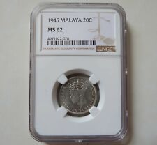Malaya 20 cent 1945 silver coin Keydate NGC MS62