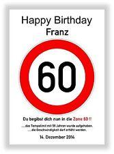 Verkehrszeichen Bild 60 Geburtstag Deko Geschenk persönliches Verkehrsschild NEU