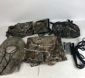 Hunting Blind Lot Fabric RealTree AP Camo 8ft x 28in Rope Pack Face Mask Window