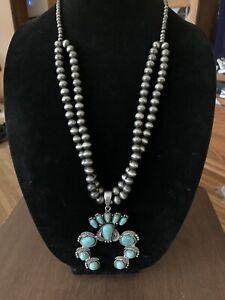 """Isac Turquoise Squash Blossom Necklace Southwest Boho Chic 36"""" Silver Tone"""