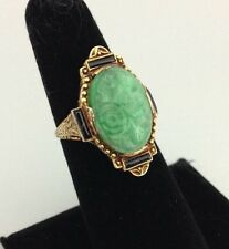 Art Deco Nouveau 14K Gold Carved Jadeite Jade Ring Enameled Frame 4.1 Grams Sz 6