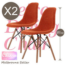 2 x Retro Replica Eames Eiffel DSW Fabric Beech Dining Chair Cafe Kitchen Orange