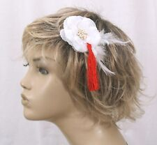 White and Red flower feather tassel facinator
