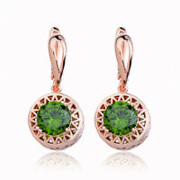 Rose Gold Plated Round Olive Green Cubic Zirconia Hoop Huggie Dangle Earrings
